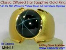 man gemstone ring star sapphire diffused