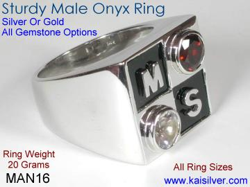 Man onyx gemstone ring