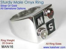 Heavy Man Ring With Onyx Gem Stone