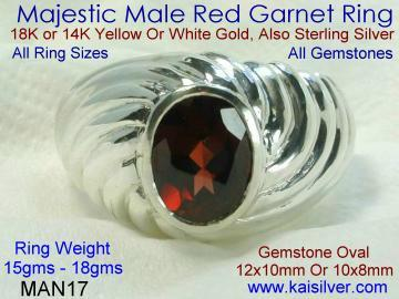 Male Gemstone Ring, With Red Garnet