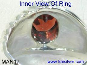 Mens gold and silver garnet gemstone rings