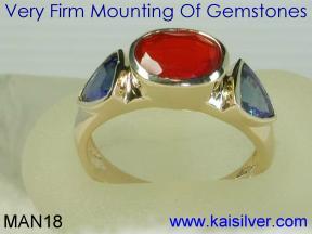 Custom Male Rings With Opal Gem Stone