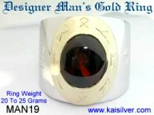 Man ring, garnet in white and yellow gold