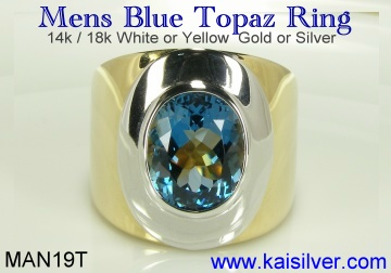 mens topaz gem stone ring