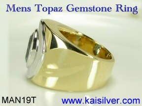 gold or silver blue topaz ring for men