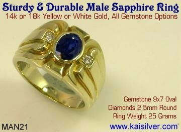 mens blue sapphire gold or 925 sterling silver ring