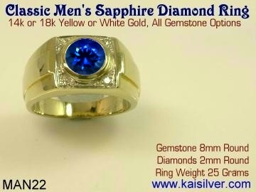 Man wedding ring with sapphire and diamond