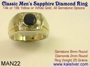 Jewelry for gents, sapphire gemstone ring