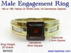 man wedding ring, diamond and garnet