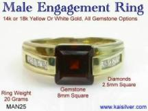 garnet diamond ring, man engagement ring