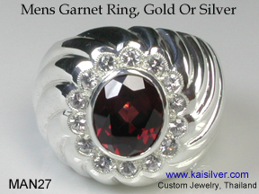 garnet gemstone ring for men