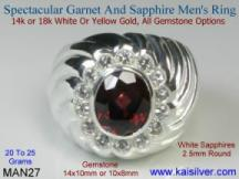 Man rings garnet gem stone