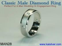 custom man diamond ring white gold