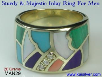 Inlay ring with gemstone 14k yellow gold