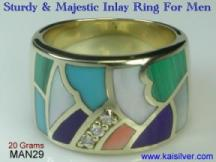 Fine gold jewelry custom, inlaid gemstone ring for men