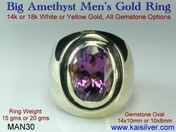 Male amethyst ring, choosing the amethyst gemstone