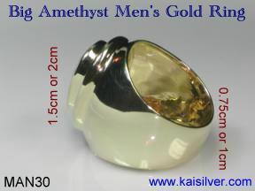 Big oval amethyst men's ring