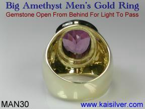 Big amethyst gemstone man ring