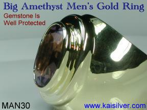 Yellow or white gold amethyst rings for men