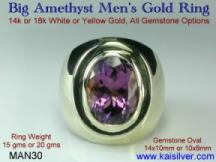 yellow or white gold man ring, with amethyst