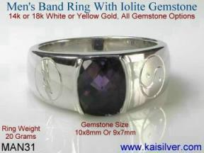 mens iolite wedding band ring