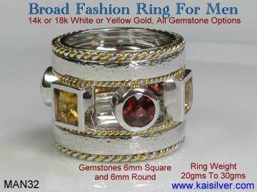 Custom man fashion ring with gem stone
