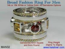 gemstone men's sterling silver ring