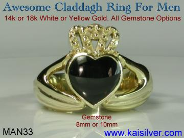 Man claddagh ring with black onyx gem stone