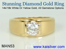 gold diamond men's ring