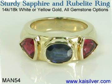 mens sapphire gemstone ring