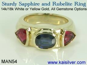 mens sapphire rings gold or 925 sterling silver sapphire ring for men