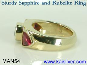 fire opal man ring design with rubelite and blue sapphire