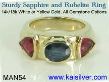 Male ring, with three gem stones