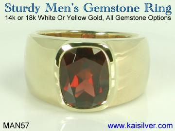 men's sturdy garnet ring custom