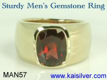 Sturdy garnet birthstone men's ring gold or sterling silver