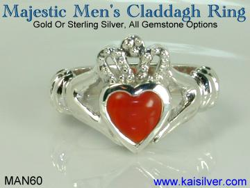claddagh ring for men, 14k or 18k gold mens claddagh ring