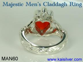 Claddagh gemstone jewelry, male claddagh ring