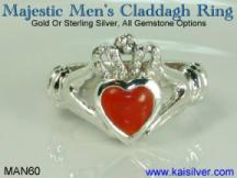 men's gemstone calladagh ring