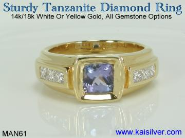 mens tanzanite gem stone ring with diamonds custom