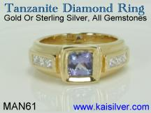 Man gold ring with tanzanite and diamond