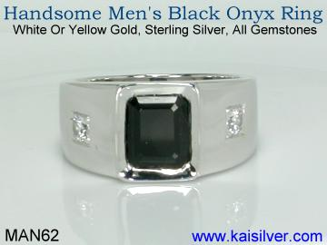 Man black onyx ring with diamond silver or gold
