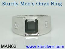 mens onyx diamond ring