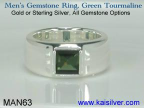 green tourmaline men's ring