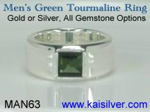 green tourmaline gemstone ring for men