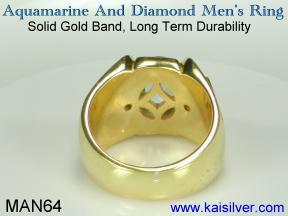 18k or 14k mens rings, yellow or white gold aquamarine men's gem stone ring