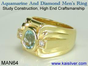 mens blue aquamarine and diamond wedding ring