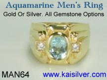 aquamarine gem stone mens ring 14k or 18k gold