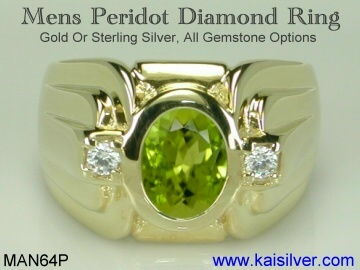 mens peridot gemstone ring