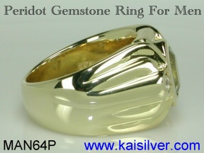 gold or silver peridot ring for men