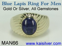 lapis ring for men, silver or gold lapis gemstone rings